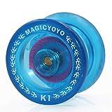 MAGICYOYO Débutant Yo-yos K1 Yoyos Réactifs avec Gant Pochette Yo Yo 5 Cordes Jouet Cadeau pour 8 Enfants et + Cristal bleu