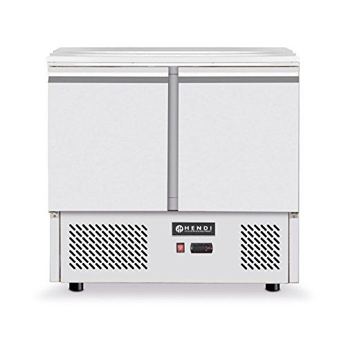 HENDI Saladette, Kühltisch, Zweitürig, Umluftkühlung, max -2 bis 8°C, Inklusive 2 Fachböden, je bis 15kg belastbar (bei gleichmäßiger Verteilung), 300L, 230V, 310W, 900x700x(H)888mm, Edelstahl
