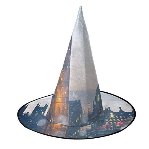 TABUE Disfraz de Halloween Sombrero de Bruja Big Ben Wizard Caps con Luces Accesorio de Vestido Elegante para Cosplay Fiesta de Halloween