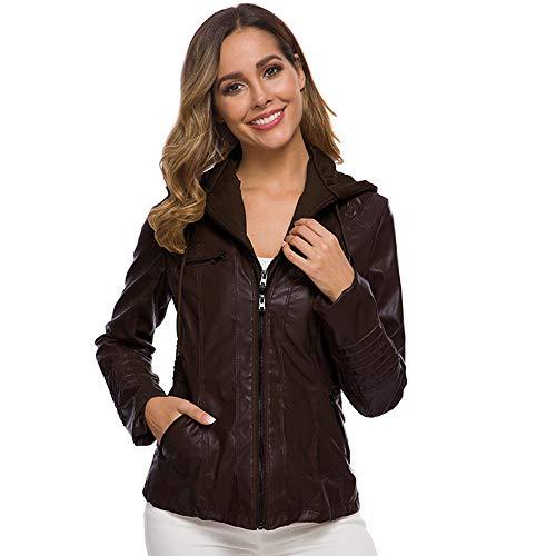 ODOKEI Giacca Pelle Artificiale Softshell da Donna con Cappuccio Jacket Cappotto Lungo Giacca Marrone Scuro 4XL