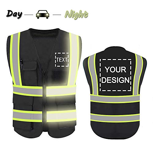 High Visibility Reflective Safety Vest Customize Logo With 5 Pockets Hi Vis Vest Outdoor Protective Workwear (Black (M))