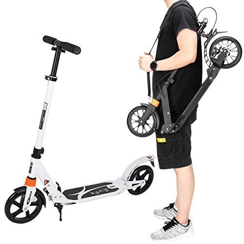 Msoah Kick Scooter para Adultos, Plegable, para Adultos, Adolescentes, City Scooter, Ajustable, con Soporte, 3 Niveles de Altura Ajustable, para niños, niñas, Adultos, Adolescentes a Partir de 8 años