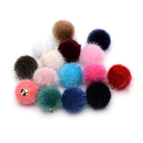 PandaHall 50 colgantes de piel sintética con pompones de bolas de 14 x 10 mm, con adornos de latón para pendientes y accesorios de joyería, color aleatorio