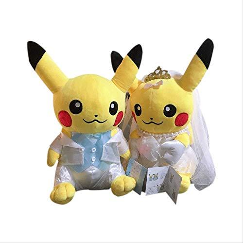 Therfk Pokemon 2Pcs Pikachu Liebhaber Plüschpuppe Kuscheltier Stofftier 20Cm, Niedlichen Schatz Mädchen Geburtstag Neujahr Paar Hochzeitskleid Geschenk