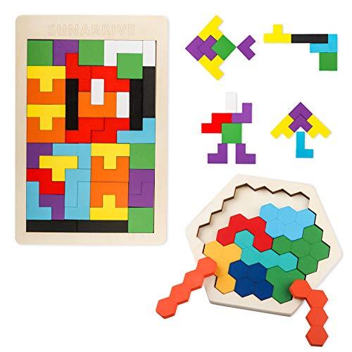 Sunarrive Wooden Tetris and Hexa...