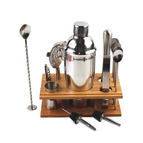 SFLRW Kit de barman de 14 piezas con soporte, coctelera de acero inoxidable Coctelera, coctelera, jigger, colador, cuchara mezcladora de barras, pinzas, abrelatas de la botella, vulnerado de licor