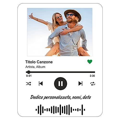 Targa Personalizzata Musica, Foto Stampa UV in Plexiglass Acrilico Trasparente. Foto Anniversario San Valentino