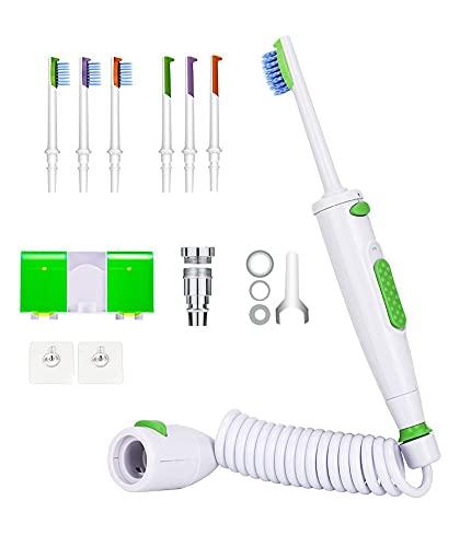 KUUY Irrigador bucal de Grifo portátil, implementos dentales con Hilo Dental de Agua, máquina de Limpieza de Dientes con Cepillo de Dientes con Chorro de Agua, 6 boquillas
