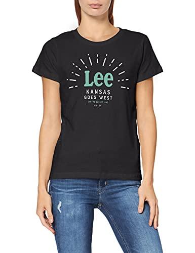 Lee Seasonal Logo tee Camiseta, Negro (Black 01), Small para Mujer