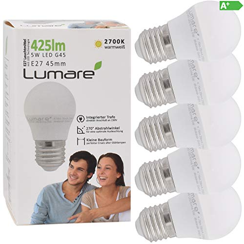 Lumare LED Lampe Energiesparlampe E27 G45 5er Set LED Birne 5 Watt 425 Lumen Leuchtmittel ersetzt 40 Watt Glühbirne warmweiss 2700K Abstrahlwinkel 270° Tropfen