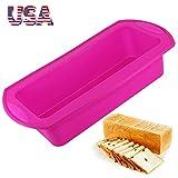Moldes antiadherentes de silicona para pan, 21 x 9 cm, 2 unidades, reutilizables, sin BPA, aptos para hornear, para tartas caseras