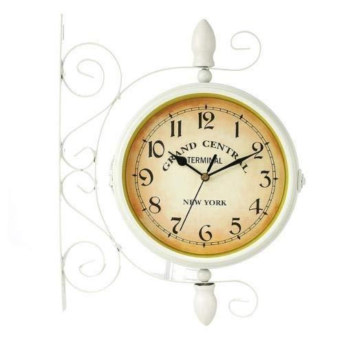 Sygjal Cuco Doble Cara de Bastidor estación de Montaje de Pared Redondo Retro Decoración de Metal del Reloj de la Vendimia de Cristal Cubierta Dial Reloj de Pared