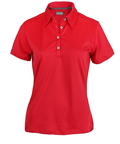 Ashworth Women's Performance EZ-SOF Solid Polo (Small, True Red)