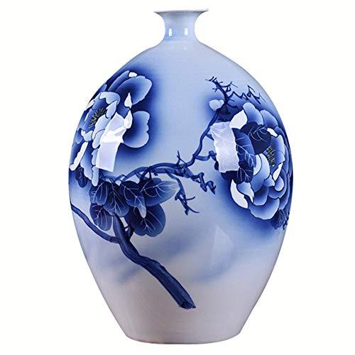 """J.Mmiyi Keramik Blumenvase Blau Und Weiß Exquisit Pfingstrosenblüten China Bodenvase Handgefertigte Dekorative, Höhe, 14.96\""""(38cm),Blau"""