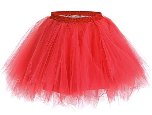 Aysimple Aysimple Mädchen Kinder Kurz Tutu Rock Tüllrock Tütü Crinoline Minirock Reifrock Unterrock Kleid Tüll Rot