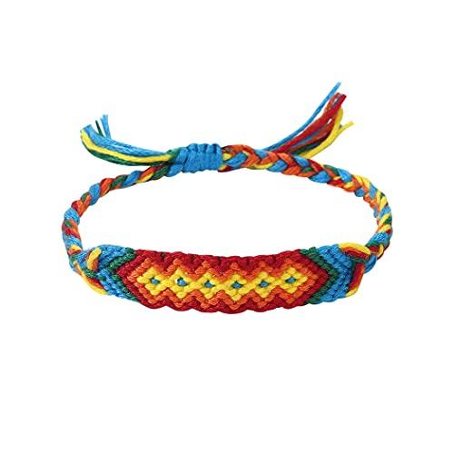 Branets Pulsera tejida hecha a mano multicolor de la amistad, pulsera a juego, estilo boho, brazaletes tejidos ajustables para mujeres y niñas