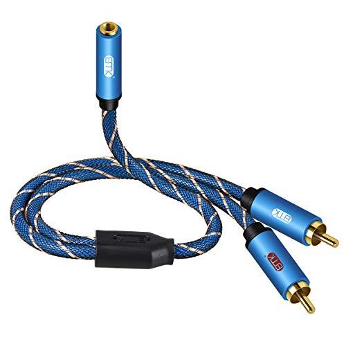 EMK Cavo Adattatore da 3,5 mm a 2 RCA Cavo Audio Hi-Fi 3,5 mm AUX Femmina placcato in oro per Telefoni cellulari, Tablet, Home theater, Altoparlanti 35 cm