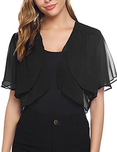 Aibrou Women Shrugs Summer Chiffon Short Sleeve Open Front Cropped Bolero Cardigan for Evening Dress Wedding Cape Black* Short M