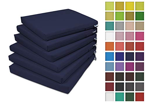 Rollmayer 6er Set Stuhlkissen Stuhlauflage Sitzkissen Sitzpolster Auflage für Stühle in Haus und Garten Kollektion Vivid (Dunkel Blau 16, 40x40x4cm)
