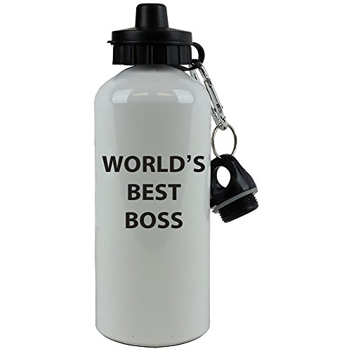 Engraved Cases White Aluminum Black World's Best Boss, 20-Ounce (600 ML) Sport Water Bottle with Sports Top, Carabiner