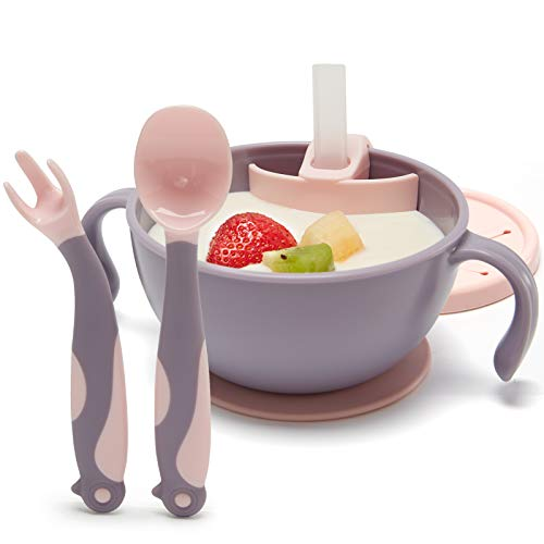 Baby Bowls First Stage with Bendable Baby Spoons Fork, Suction Baby Bowl for Toddler with Lid Straw, Non-Slip Toddler Plates, Anti-Overflow, Baby Plates Snack Cup Baby Gifts for Girl Boys, Pink Purple