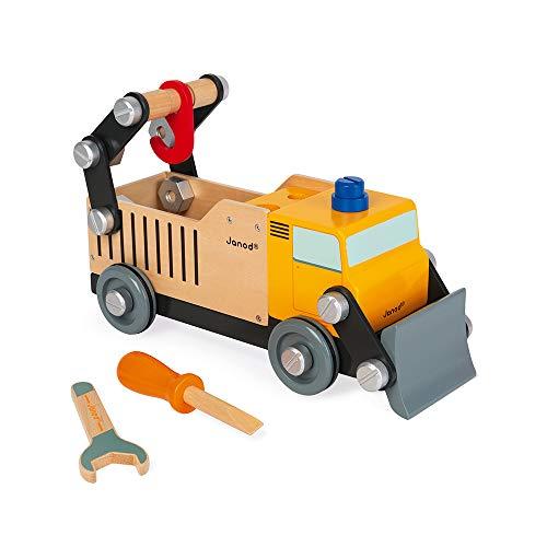 Janod - Brico'Kids Camion Cantiere in Legno - Giocattolo da Costruzione - Sviluppo della Motricità Fine e dell'Immaginazione - Certificato FSC - a Partire da 3 Anni, J06470
