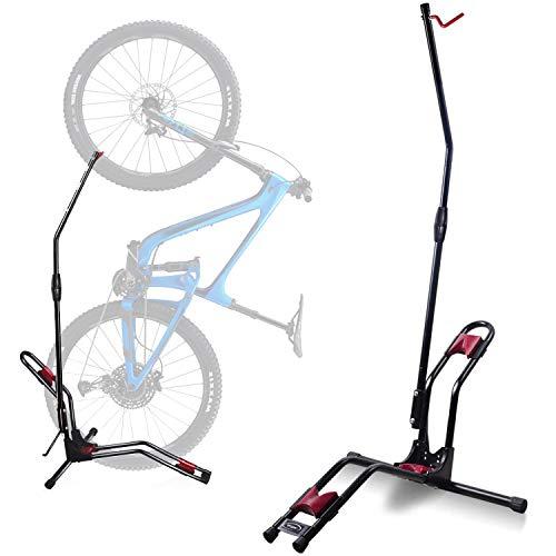 Stryser - Soporte bicicletas suelo Aparcamiento vertical con fijación de rueda Soporte bicicletas pared almacenamiento compacto, sin dañar las paredes