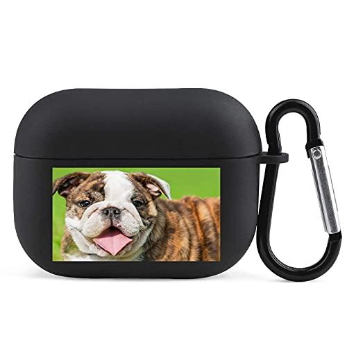 Mops Hund spottar ut din tunga TPU Airpods Pro fodral täcker med nyckelring Airpods 3 skyddande söt elegant chocktätt headset hörlurar fodral för kvinnor män tonåring tillbehör svart