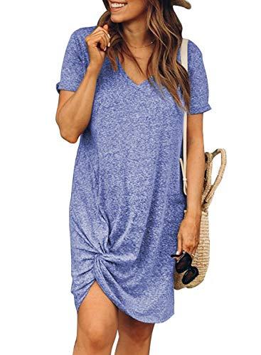 Dearlovers Womens Short Sleeve Tshirt Dresses Side Knot Mini Dress Medium Sky Blue
