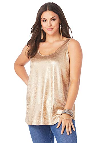 Roamans Women's Plus Size Scoopneck Metallic Tank Top Top Sleeveless Sparkle Shirt - 26/28, Sparkling Champagne Metallic