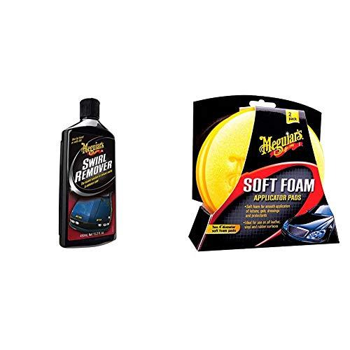 Meguiar\'s G17616EU Swirl Remover Politur, 450ml & X3070 Soft Foam Applicator Pads Auftragsschwamm, 2-er Pack