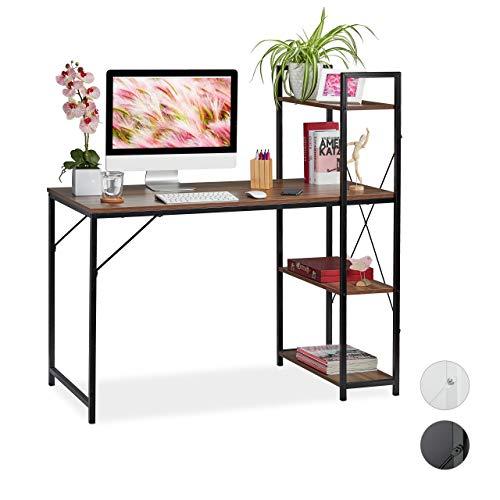 Relaxdays Schreibtisch, Kombination mit Regal, 4 Ablagefächer, für Jugendzimmer & Büro, HBT: 121x120x62cm, braun/schwarz 121 x 120 x 62 cm