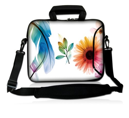 """Laptop Skin Shop 15.6 inch Laptop Sleeve Bag Notebook with Extra Side Pocket, Soft Carrying Handle & Removable Shoulder Strap for 14"""" 15"""" 15.4"""" 15.6"""" Apple MacBook Air, GW, Acer, Aspire Asus, Dell, HP, Sony, Toshiba, Samsung - Daisy Flower Leaves Floral"""