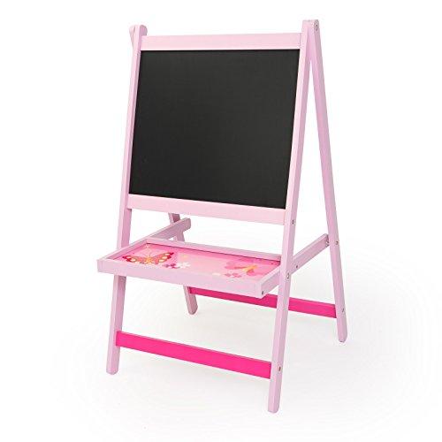 Homestyle4u 1126 Kindertafel Schmetterling Blumen, Maltafel neigbar mit Ablage, Holz Pink Rosa
