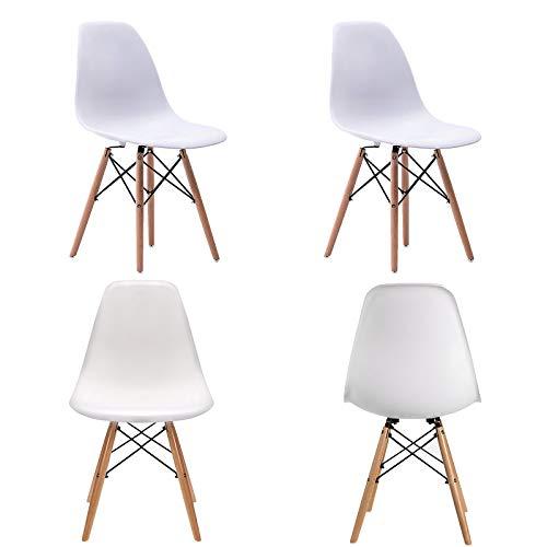 WV LeisureMaster - Set di 4 sedie da pranzo con gambe in legno, in materiale ABS, 4 pezzi, colore: Bianco