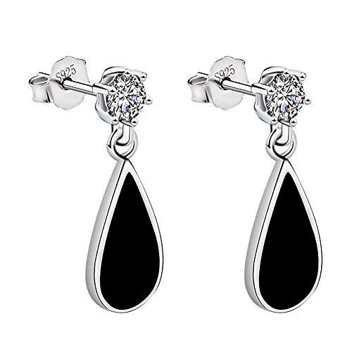 Meyiert 925 Sterling Silver Cubic Zirconia Black Paint Teardrop Dangle Drop Stud Earrings for Women (White)