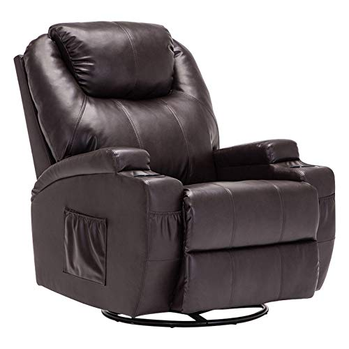 SUNCOO Massage Recliner Leather Sofa Chair Ergonomic Lounge Heated with Cup Holder 360 Degree Swivel (Brown-11 IN 1)