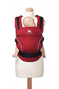 manduca First Baby Carrier > PureCotton < Mochila Portabebe Ergonomica, Algodón Orgánico, Extensión de Espalda Patentada, para Recién Nacidos y Bebés de 3,5 a 20 kg (PureCotton (modelo obsoleto), ChiliRed (rojo))