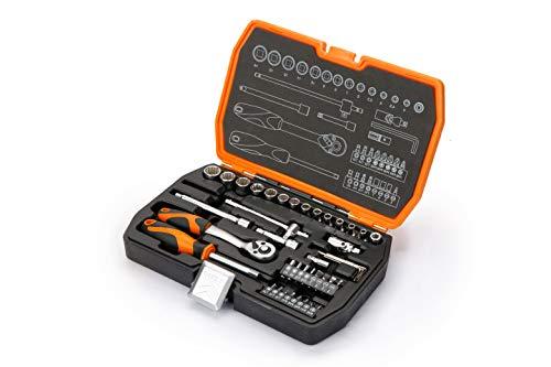 KENDO Steckschlüsselsatz und Bitsatz – 42-teilig – 1/4 Zoll Antrieb – Mit ergonomischen Griffen – Mit stabilem Kasten und Metallschloss – Zum Schrauben und Montieren