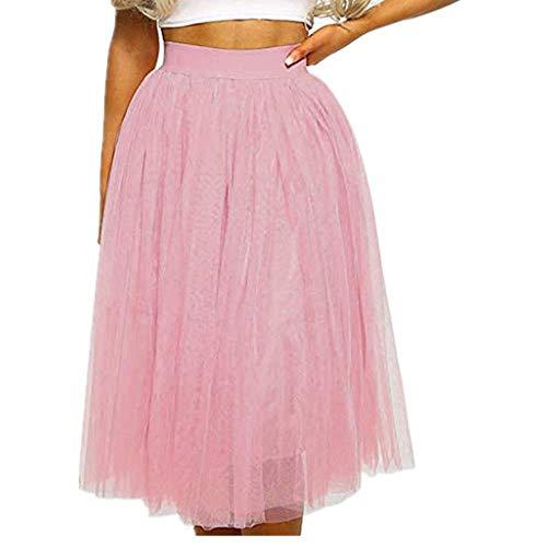 Vectry Falda De Tul Fiesta De Tutú para Mujer Plisadas Faldas Moda Mujer Casual Solid Evening Mesh Party Elástico Waiste Falda Longitud Midi Falda Mujer Cortas Falda