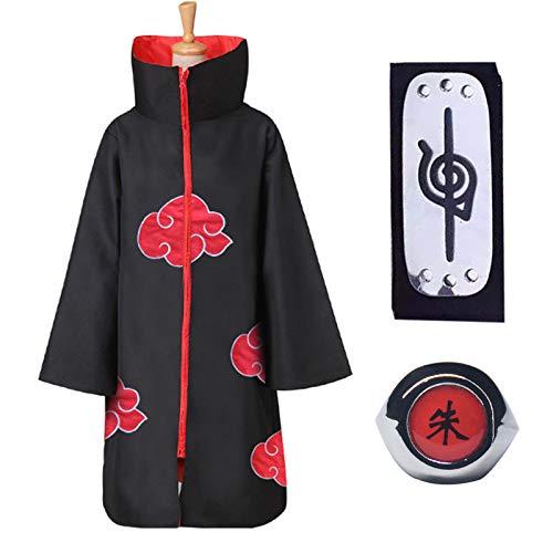 Naruto Akatsuki - Abrigo unisex para nios y adultos, cosplay, Halloween, Navidad, fiesta, disfraz, capa con cinta para la cabeza y anillo (mediano)