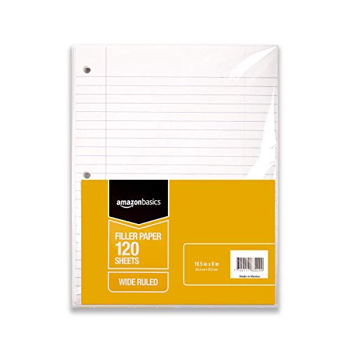 AmazonBasics Wide Ruled Loose Leaf Filler Paper, 120 Sheet, 10.5 x 8 Inch, 6-Pack