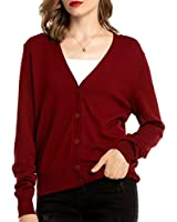 Woolen Bloom Women's V Neck Button Down Cardigan Sweaters Long Sleeve Lightweight Fall Classic Cardigans for Women Knit Red Wine