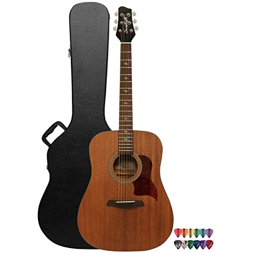 Sawtooth Mahogany Series Solid Mahogany Top Acoustic-Electric Dreadnought Guitar with Hard Case and Pick Sampler