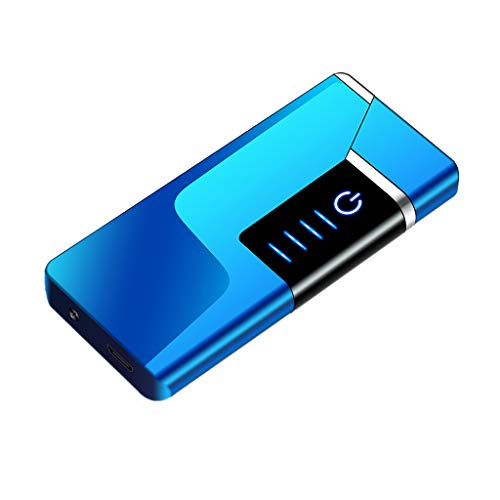 KOOWLUK - Accendino Elettrico al Plasma, Ricaricabile, in Metallo, per sigari, moxibustion/Moxa, per Esterni, Antivento, Senza Fiamma, Stile Estremamente Sottile Blu