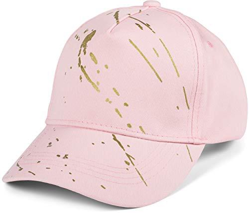 styleBREAKER Damen 5-Panel Cap Einfarbig mit goldenen Farbspritzern, Baseball Cap, Basecap, verstellbar 04023071, Farbe:Rose