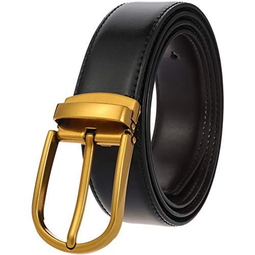 Cinturón para hombre, de piel, estilo casual, con hebilla de una sola punta, color negro y café, Black Gold Buckle, 125cm/Max 44 Inch Waist