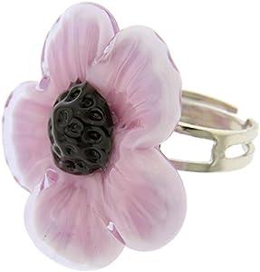 GlassOfVenice Anillo ajustable de cristal de Murano con flor morada