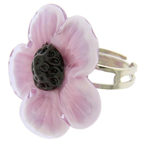 GlassOfVenice Anillo ajustable de cristal de Murano con flor púrpura
