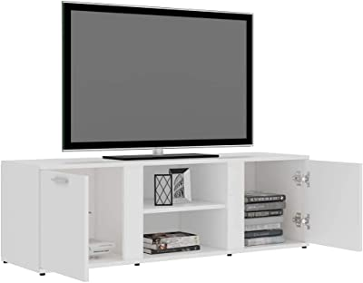 TV Cabinet Sideboard Lowboard TV Table with Storage 2 Doors and 2 Open Compartments for Living Room High Gloss White 120x34x37cmChipboard